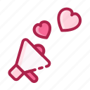 heart, love, megaphone, romantic, speaker, valentine