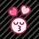 emoji, emoticon, face, heart, love, romantic, valentine