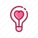 bulb, heart, light, love, romantic, valentine