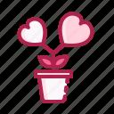 flower, heart, love, pot, romantic, valentine