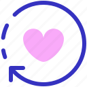 rrow, heart, like, love, refresh, reload, sync icon