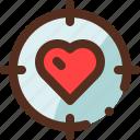 focus, heart, love, romance, target, valentine