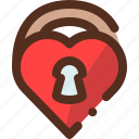 heart, lock, love, secure, security, valentine icon