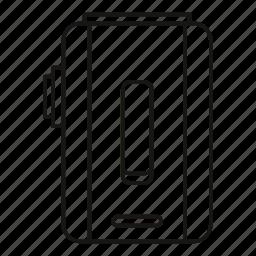 addiction, box, e-cigarette, line, mod, outline, rendering icon