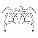 animal, claw, crab, line, ocean, outline, seafood icon
