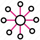connected, hub, network, spoke icon