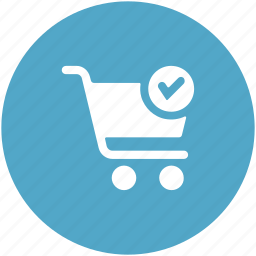 checkmark, products bought, shopping, shopping cart, shopping complete, shopping done icon