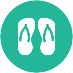 beach sandals, flat sandals, flip flops, footwear, jandals, thongs slippers icon