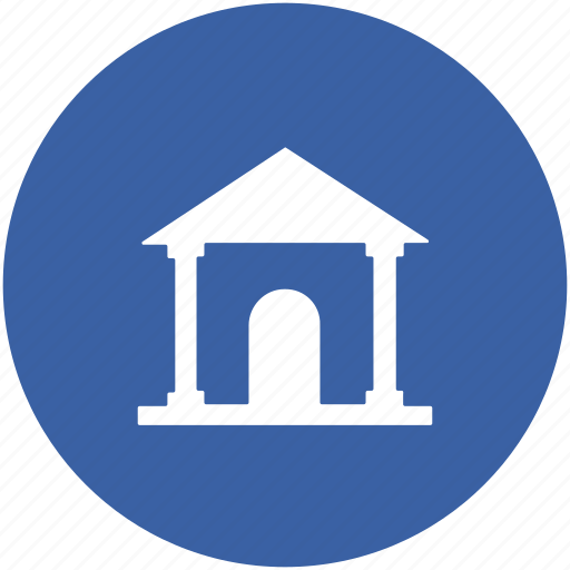bank building, building, college, court, real estate, school icon