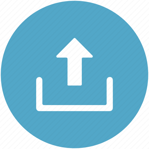 arrow, file upload, outbox, up arrow, upload button, uploading, uploading tray icon