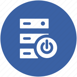 power button, server, server power, server rack, web hosting icon