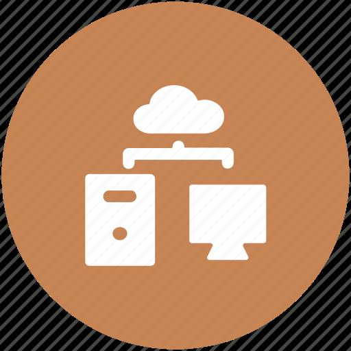 cloud computing, cloud sharing, computer, data sharing, networking icon