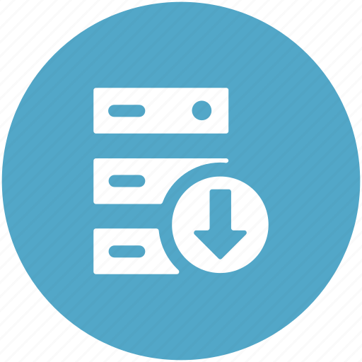 computing, down arrow, downloading, server downloading, server rack icon