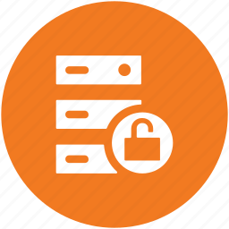 data protection, padlock, safety, secure database, server locked, server rack, server security icon