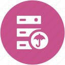 data storage, hosting server, network share, rack server, secure database, server safety icon
