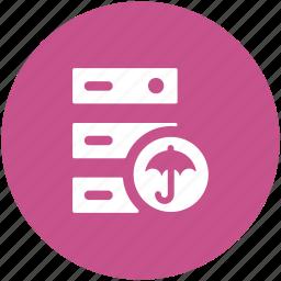 data storage, hosting server, network share, rack server, secure database, server safety icon
