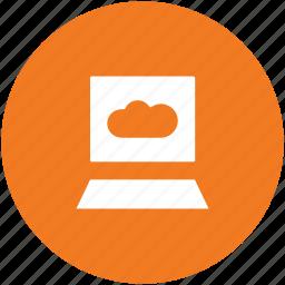 cloud computing, data storage, laptop, laptop pc, storage cloud icon
