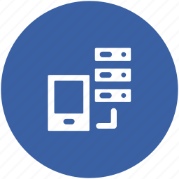 data sharing, database connection, mobile connection, networking, server connection icon