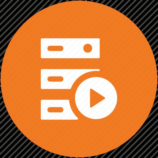 database, multimedia server, server rack, video player, video server icon