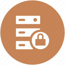 data protection, safety, secure database, server locked, server rack, server security icon