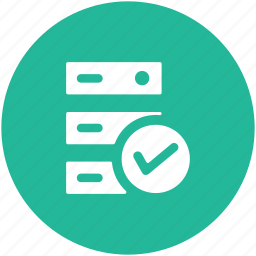 checkmark, database, database verified, server, server checked, server rack icon