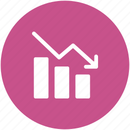 business chart, diagram, downward graph, infographics, loss chart, loss graph icon