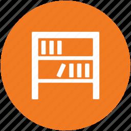 book storage, books rack, bookshelf, library, study room icon