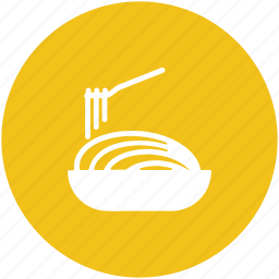 bowl, chinese food, food, fork, noodles, spaghetti, vermicelli icon