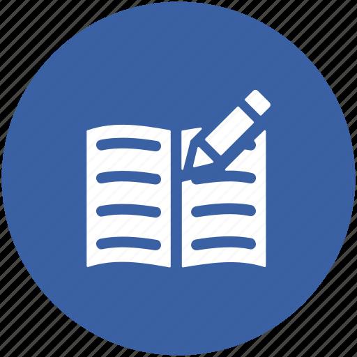 notebook, notepad, pencil, writing, writing pad icon