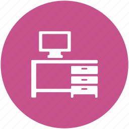 computer, computer desk, computer table, furniture, office table, workstation icon