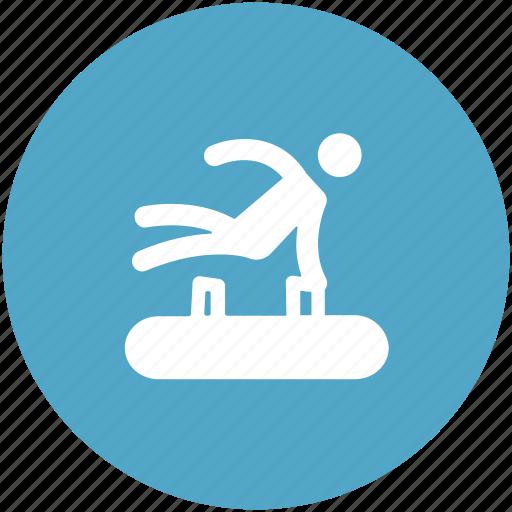 gymnasium, gymnast, gymnastics, pommel horse, sports icon