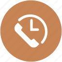 call service, clock, customer support, helpline, on time support, phone, time icon