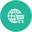 e commerce, online shopping, online store, shopping cart, worldwide shopping icon