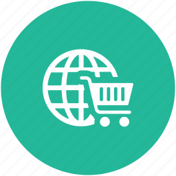 e commerce, online shopping, online store, shopping cart, worldwide shopping icon