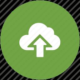 cloud, cloud uploading, computing cloud, icloud, storage cloud, up arrow icon