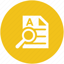 document, magnifying lense, searching document, searching tool, sheet icon