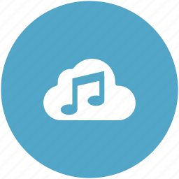 cloud music, music note, online multimedia, online music, storage cloud icon