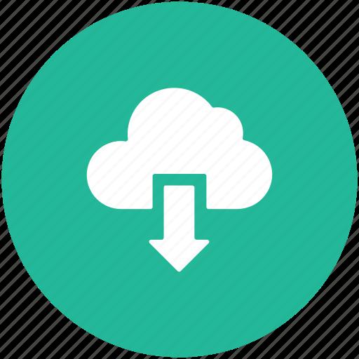 cloud, cloud downloading, computing cloud, down arrow, icloud, storage cloud icon