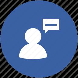 commenting, communication, speech, speech bubble, talking, user icon