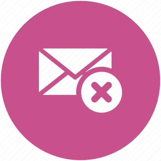 correspondence, delete email, discard email, letter envelope, mail, removed email icon