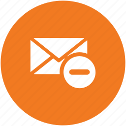 cancel email, correspondence, discard email, letter envelope, mail, removed email icon