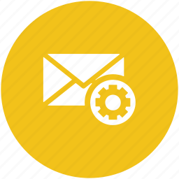cog, email, email configuration, email setting, email settings, gear icon