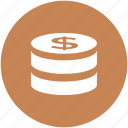 cash, coin stack, currency, dollar coin, finance, money, wealth icon