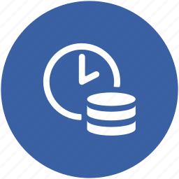 clock, coin stack, finance, on time payment, saving, time, timely investment icon
