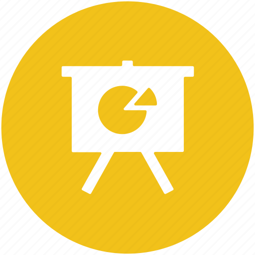 business graphs, business presentation, easel, graph presentation, pie chart, whiteboard icon
