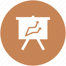 business graphs, business presentation, easel, graph presentation, line graph, whiteboard icon