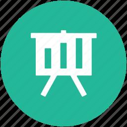 bar chart, business graphs, business presentation, easel, graph presentation, whiteboard icon