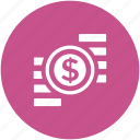 cash, coin stack, currency, dollar coins, money, wealth icon