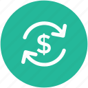 dollar, dollar exchange, money exchange, refresh, return of investment icon