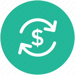 dollar, dollar exchange, money exchange, refresh, return of investment icon